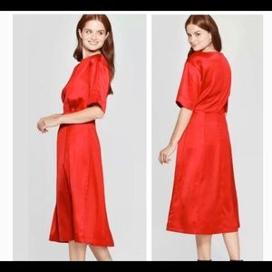 Prologue Boat Neck A-line Midi Dress Red